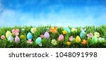 bright colorful easter eggs on... | Shutterstock . vector #1048091998