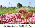 outdoor picnic setting with wine | Shutterstock . vector #104811104