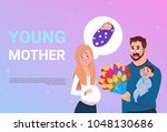young mother pregnant woman... | Shutterstock .eps vector #1048130686
