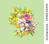 watercolor bouquet flowers....   Shutterstock . vector #1048134454