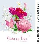 vintage vector bouquet blooming ... | Shutterstock .eps vector #1048135618