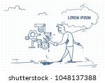 doodle businessman with spanner ... | Shutterstock .eps vector #1048137388