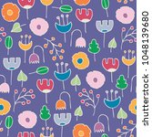 simple colorful floral seamless ... | Shutterstock .eps vector #1048139680