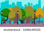 park in the background of the... | Shutterstock .eps vector #1048140520