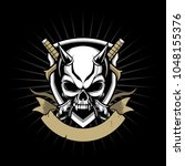 skull devil with sword vector... | Shutterstock .eps vector #1048155376