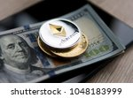 ethereum coin on a us dollars... | Shutterstock . vector #1048183999