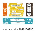 retro media technology. vcr ... | Shutterstock .eps vector #1048194730
