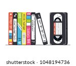 video tapes with labels and... | Shutterstock .eps vector #1048194736