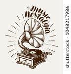 gramophone  phonograph  record... | Shutterstock .eps vector #1048217986