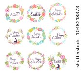 happy easter hand drawn badge... | Shutterstock .eps vector #1048218373