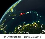dominican republic in red on... | Shutterstock . vector #1048221046
