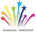 colorful shooting stars logo | Shutterstock .eps vector #1048223539