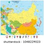 eurasia political map and flat... | Shutterstock .eps vector #1048229023