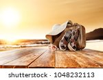 summer suitcase and beach... | Shutterstock . vector #1048232113