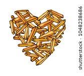 heart of potato french fries.... | Shutterstock .eps vector #1048238686