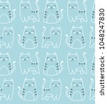 seamless light blue vector... | Shutterstock .eps vector #1048247830