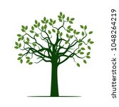 green tree with leaves. vector... | Shutterstock .eps vector #1048264219