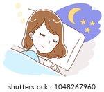 a woman is asleep | Shutterstock .eps vector #1048267960