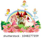 fairies and unicorn at the... | Shutterstock .eps vector #1048277359