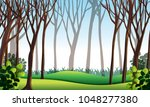 forest scene with green grass... | Shutterstock .eps vector #1048277380