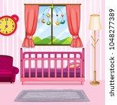 bedroom scene with pink bed... | Shutterstock .eps vector #1048277389