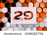 white paper cut number 29 on... | Shutterstock . vector #1048282756