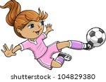 sports summer soccer girl... | Shutterstock .eps vector #104829380