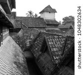 Small photo of India Tamil Nadu Padmanabhapuram Temple Complex Monochrome - This temple complex presents uniquely influenced architecture and construction resultant from international trade related diplomacy