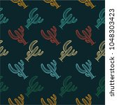 mexican cactus seamless pattern ... | Shutterstock .eps vector #1048303423
