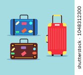 set of travel bag  luggage with ... | Shutterstock .eps vector #1048312300