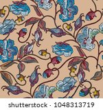 embroidery blue flowers... | Shutterstock .eps vector #1048313719