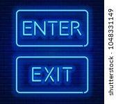 blue neon light glowing sign... | Shutterstock .eps vector #1048331149