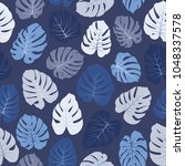 vector tropical pattern with... | Shutterstock .eps vector #1048337578