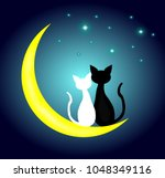 two cats in love sitting on the ...   Shutterstock .eps vector #1048349116