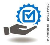 hand check mark icon vector.... | Shutterstock .eps vector #1048354480