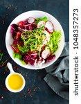 fresh vegetable salad plate of... | Shutterstock . vector #1048357273