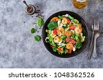 healthy salad plate. fresh... | Shutterstock . vector #1048362526