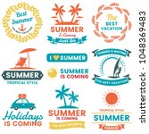 summer retro vector logo for... | Shutterstock .eps vector #1048369483