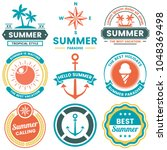 summer retro vector logo for... | Shutterstock .eps vector #1048369498