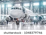 passenger aircraft on... | Shutterstock . vector #1048379746