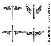 set of emblems with medieval...   Shutterstock .eps vector #1048385503