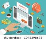 invoice flat isometric vector... | Shutterstock .eps vector #1048398673