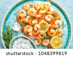 grilled shrimps or prawns... | Shutterstock . vector #1048399819
