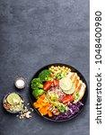 buddha bowl dish with chicken... | Shutterstock . vector #1048400980