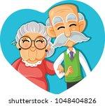 senior couple in love vector... | Shutterstock .eps vector #1048404826