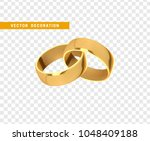 golden wedding rings  realistic ... | Shutterstock .eps vector #1048409188