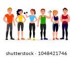 fitness people vector... | Shutterstock .eps vector #1048421746