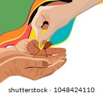 hand giving alms  corner design ... | Shutterstock .eps vector #1048424110