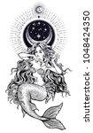 hand drawn beautiful mermaid... | Shutterstock .eps vector #1048424350
