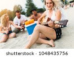 group of attractive young... | Shutterstock . vector #1048435756